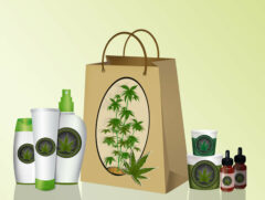 illustration of bag with cannabis products